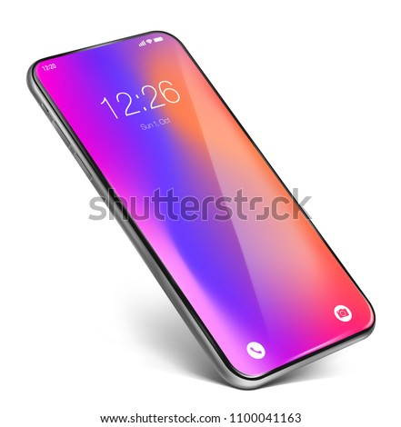 Smartphone frame less lockscreen. Standing on the corner, isolated on white background. Glossy layer on the top of the screen, easy way to paste your own content on screen by using clipping mask.