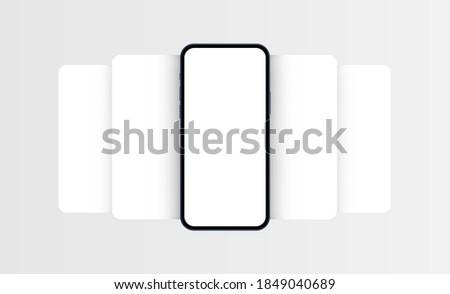 Smartphone frame mockup with blank app screens. Mobile app design concept for showcasing screenshots. Vector illustration