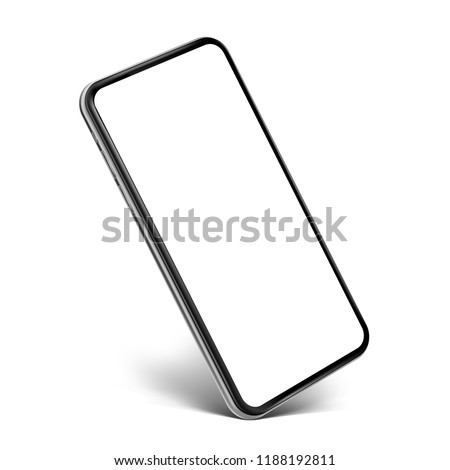 Smartphone frameless blank screen perspective view standing on the corner - isolated on white background vector eps 10