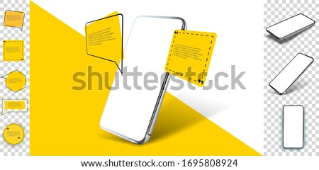 Smartphone frameless blank screen, rotated position. 3d isometric illustration cell phone. Smartphone perspective view. Template for infographics, presentation business card, flyer, brochure, UI/UX