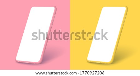 Smartphone frameless blank screen, rotated position. 3d isometric illustration cell phone. Smartphone perspective view for banner,poster,brand,template and label, packing,emblem and advertise. Vector