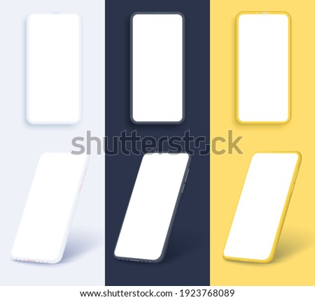 Smartphone frameless blank screen, rotated position. 3d isometric illustration cell phone. Smartphone perspective view. Minimalist modern clay mockup smartphones with colored background. Vector
