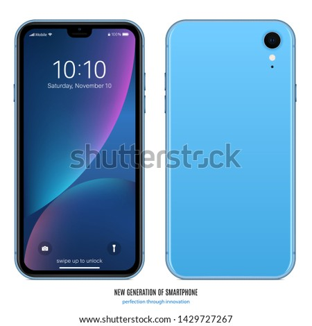 smartphone frameless blue color with colored touch screen saver and back side isolated on white background. realistic and detailed mobile phone mockup. stock vector illustration