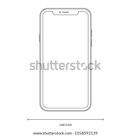 smartphone frameless icon in outline design isolated on white background. mobile phone mockup in thin line style. stock vector illustration