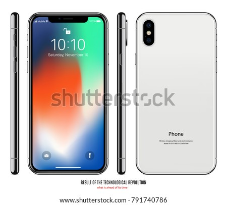smartphone frameless with colorful touch screen saver, back and side view isolated on white background. realistic and detailed mobile phone mockup. stock vector illustration