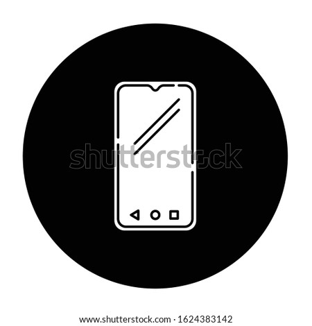 Smartphone glyph icon. Mobile, cell phone. Pocket personal computer. Cellular telephone. Touchscreen. Touch display. Portable device. Technology. Vector white silhouette illustration in black circle