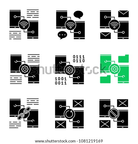 Smartphone glyph icons set. Wifi, chatting, e-mail, settings, file manager, link sharing, no signal, synchronization error. Silhouette symbols. Vector isolated illustration #1081219169