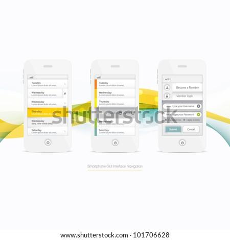 Smartphone Graphic GUI Navigation Menu Elements