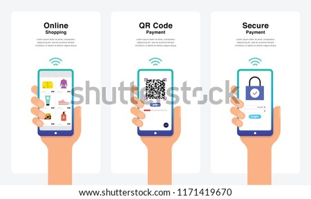 Smartphone Hand Vectors - Online Shopping, QR Code Payment, Secure Payment Concept, New And Modern Trends. Can Use For Marketing and Promotion, Web, Mobile, Infographics, Editorial, Commercial Use And - Shutterstock ID 1171419670