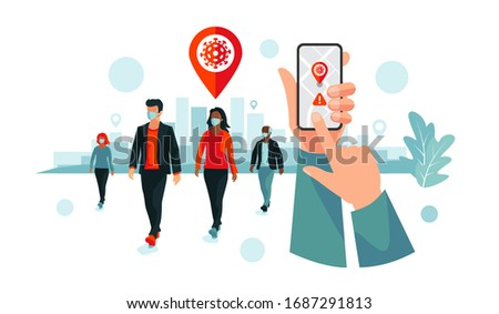 Smartphone health virus tracking location app with people wearing protection face mask to prevent coronavirus, disease, flu, air pollution. Old man young woman person walking. City illustration.