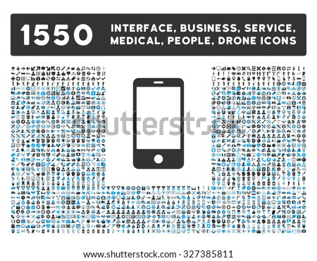 Smartphone icon and other web interface, business, tools, people, medical service and awards vector symbols. Style is bicolor flat symbols, blue and gray colors, rounded angles, white background.