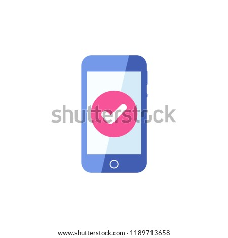 Smartphone icon, Cellphone, handphone icon with check sign. Smartphone icon and approved, confirm, done, tick, completed symbol. Cellphone display Vector. Confirm, check in phone. Cellphone, phone,