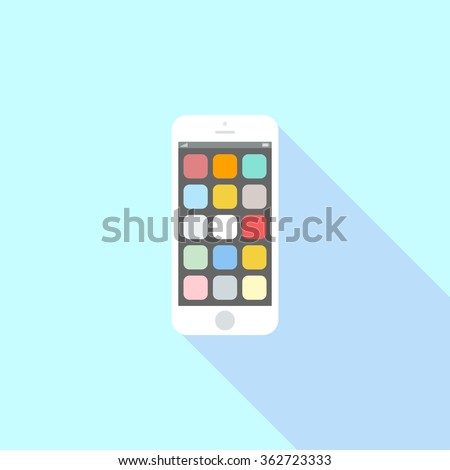 Smartphone icon in iphone style. Cellphone pictogram in trendy flat style isolated on blue background. Telephone symbol for your web site design, logo, app, UI. Vector illustration, EPS10.