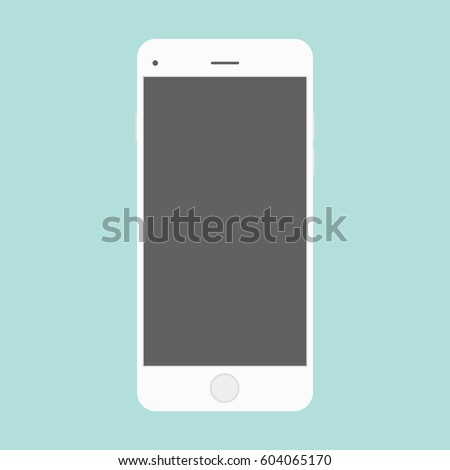 smartphone icon in the style flat design on the blue background. Smartphone iphone icon in the style flat design on the green background. White smartphone cell phone flat design