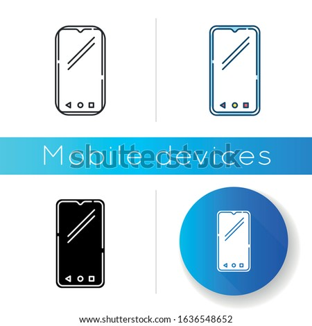 Smartphone icon. Mobile, cell phone. Pocket personal computer. Cellular telephone. Touchscreen. Touch display. Handheld portable device. Linear black and RGB color styles. Isolated vector illustration