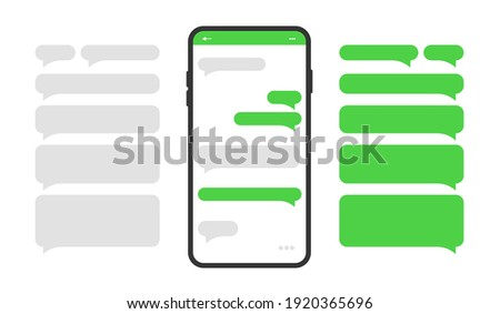 Smartphone icon with blank dialog boxes. Empty templates messaging speech bubbles. Vector illustration.