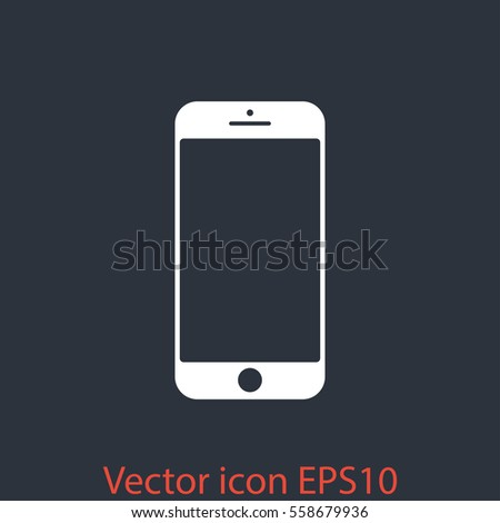 Smartphone icon with isolated blank screen. Modern simple flat telephone sign. Internet concept. Trendy vector phone display symbol for website design web button, mobile app. Logo illustration