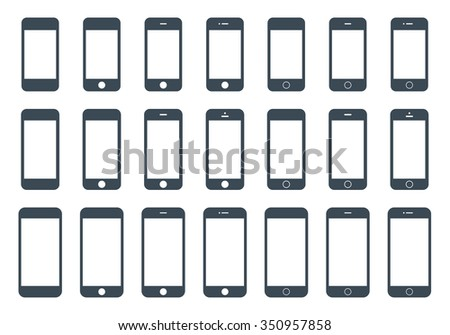 smartphone icons in iphone style mockup set gray color on the white background. stock vector illustration eps10
