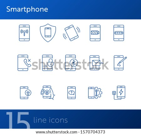 Smartphone icons. Set of line icons. Drawing app, wi-fi, mobile repair, mobile help. Mobile phones concept. Vector illustration can be used for topics like applications, technology, connection
