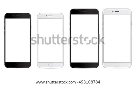 Smartphone in black and white color with big and small blank screen, mockup - Simple way to put a picture or screenshot below glossy, shiny screen layer, which affects each pattern - in eps10
