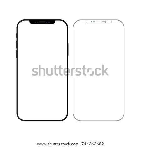 Smartphone in Black and White Color with Blank Screen - Mockup Template - EPS10 Vector Illustration