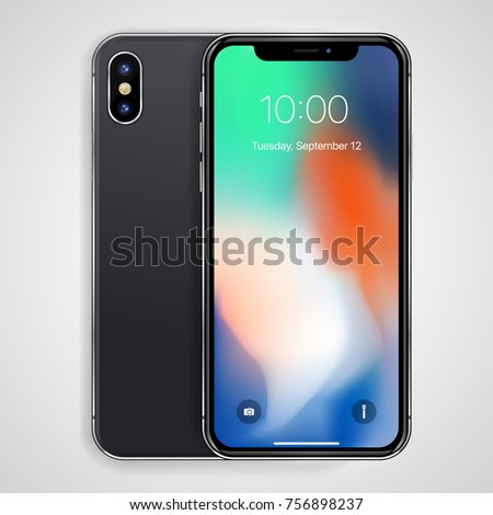 Smartphone in black color with blank screen. I phone X mockup - Simple way to put a picture or screenshot below glossy, shiny screen layer, which affects each pattern - in eps10