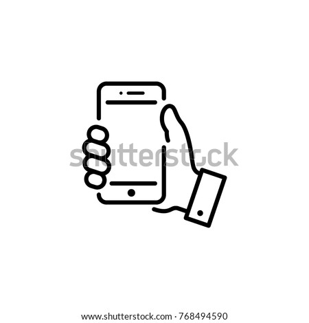 smartphone in hand icon vector