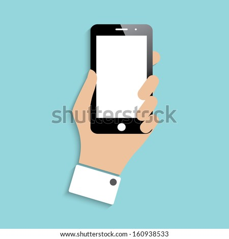 smartphone in hand. icon with shadow. vector illustration. eps10