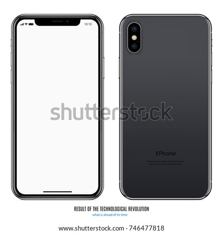 smartphone in iphone style black color with blank screen and back side on white background. stock vector illustration eps10
