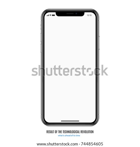 smartphone in iphone style black color with blank screen on white background. stock vector illustration eps10