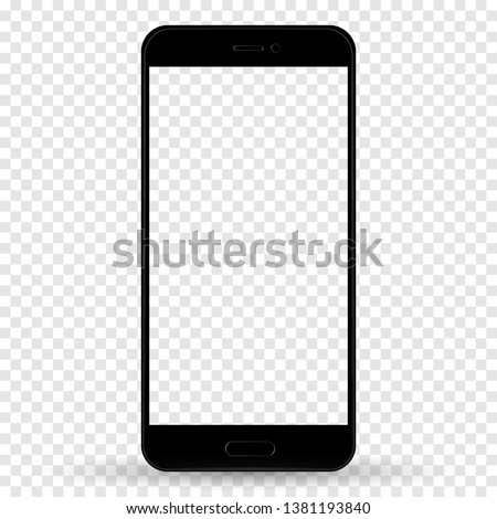 Smartphone in iphone style black color with blank touch screen isolated on transparent background. stock vector illustration eps10