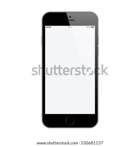 smartphone in iphone style black color with blank touch screen isolated on white background. stock vector illustration eps10