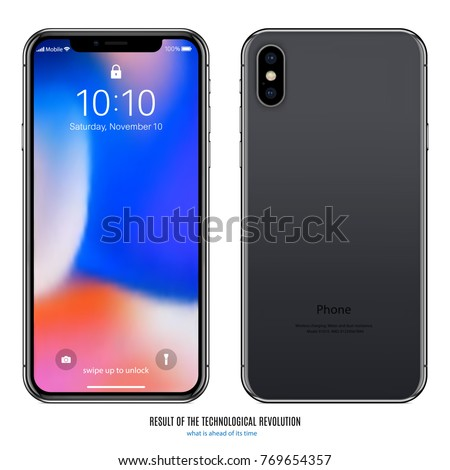 smartphone in iphone style black color with colored screen front and back side on white background. stock vector illustration eps10