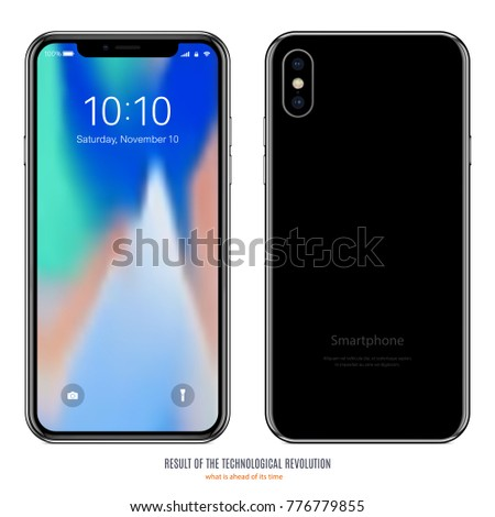 smartphone in iphone style black color with colorful screen front and back side on white background. stock vector illustration eps10