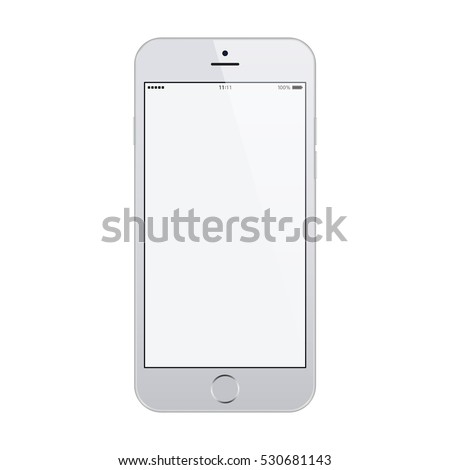 smartphone in iphone style grey color with blank touch screen isolated on white background. stock vector illustration eps10
