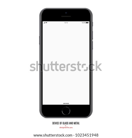 smartphone in iphone style matte black color with blank screen on white background. stock vector illustration eps10