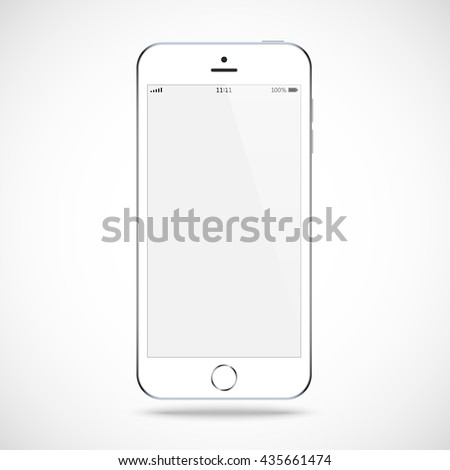 smartphone in iphone style white color with blank touch screen isolated on the grey background. stock vector illustration eps10