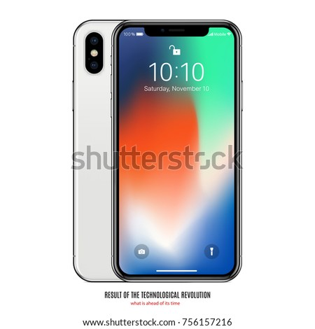 smartphone in iphone style with colored screen front and back side on white background. stock vector illustration eps10