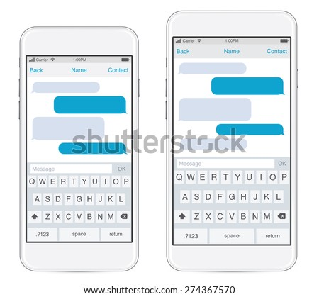 Smartphone in two sizes, chatting sms template bubbles. Place your own text to the message clouds. Compose dialogues using samples bubbles! Eps 10 format