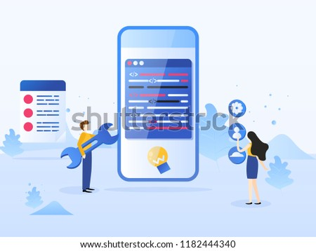 Smartphone interface building process, mobile app build. Mobile application development process flat vector illustration. Software API prototyping and testing background.