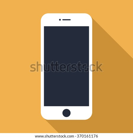 smartphone iphone icon in the style flat design on the yellow background. stock vector illustration eps10