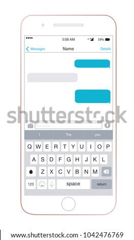 Smartphone iPhone 6 with chat app iMessage template and mobile keyboard. Vector illustration