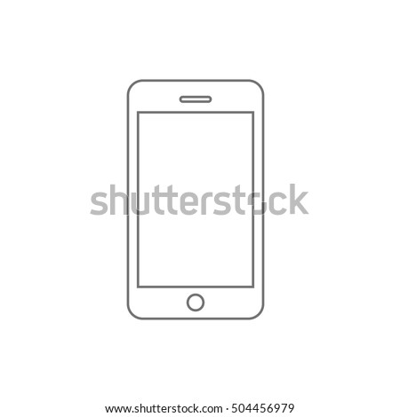 Smartphone line outline style vector illustration, simple mobile phone sketch line art icon isolated on white background