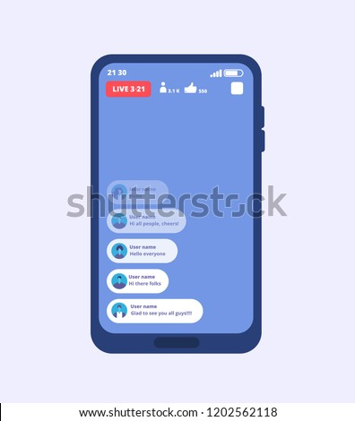 Smartphone live video stream. Streaming videos on cellphone with ui inspired by facebook. Vector template video broadcast, play multimedia stream, online smartphone stream illustration