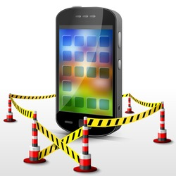 Smartphone located in restricted area. Mobile phone surrounded barrier tape.
