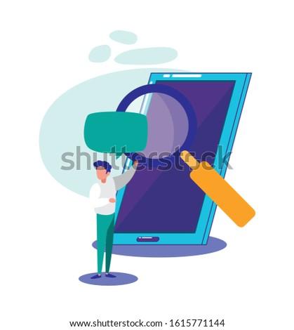 Smartphone lupe and man design, Digital technology communication social media internet web and cellular theme Vector illustration