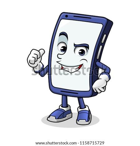 Smartphone mascot giving a thumbs up cartoon character design vector illustration