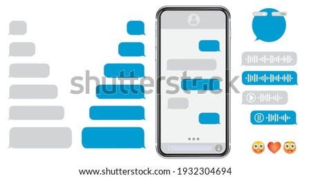 Smartphone message animation set Voice message bubbles template design. Text messages send and receive. Messenger conversation mockup. SMS chat. Type sms message. Communication in social media network