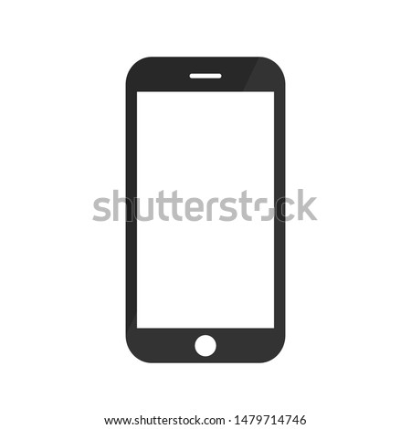 Smartphone, mobile phone, iPhone on white background,Transparent black and white mobile phone. icon-vector