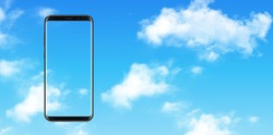 Smartphone, mobile phone over blue sky with clouds  background, vector illustration.